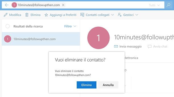 Come eliminare un contatto dal server di Outlook