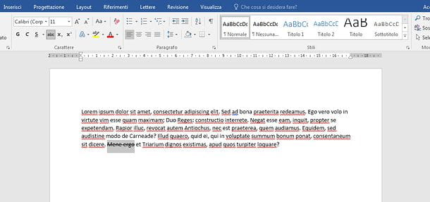 Come barrare una parola in Word