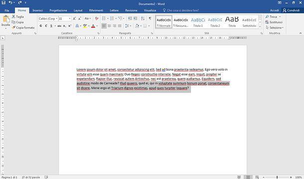 Come selezionare testo in Word