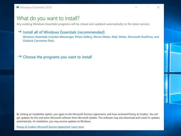 Installazione Windows Essentials 2012 inglese