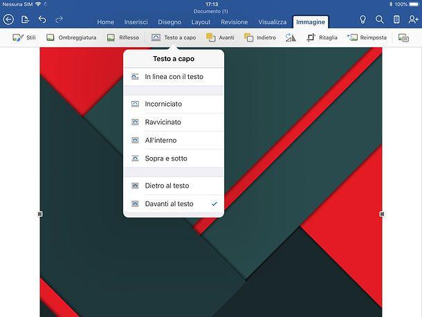 Come adattare un'immagine ad un foglio Word su tablet