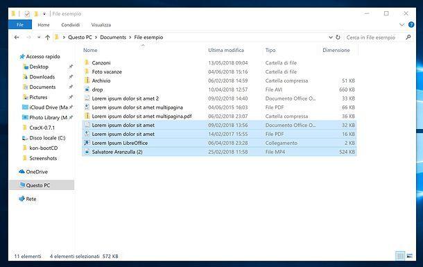 Come selezionare più file su Windows