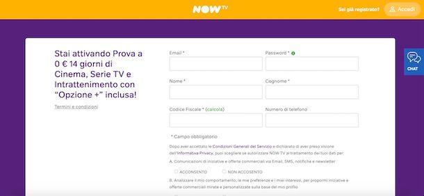 Registrazione a NOW TV