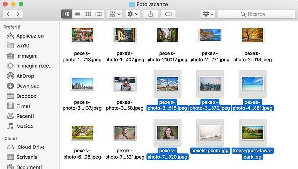 Come selezionare più file su Mac