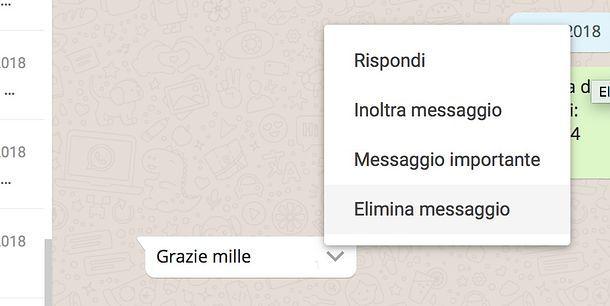 Come eliminare un messaggio da WhatsApp Web
