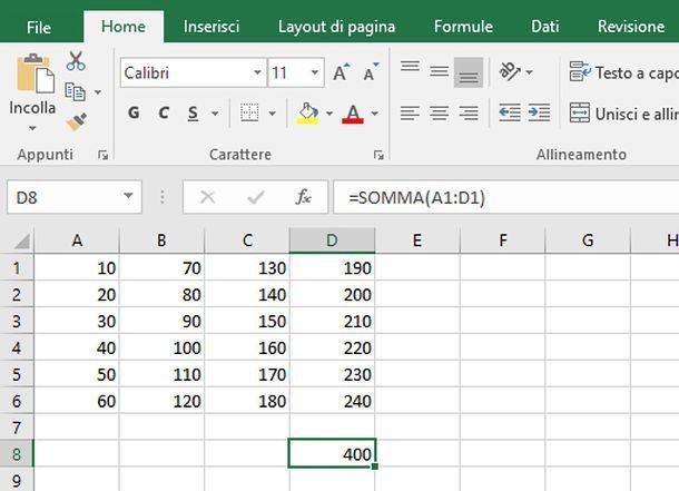 Come sommare righe su Excel
