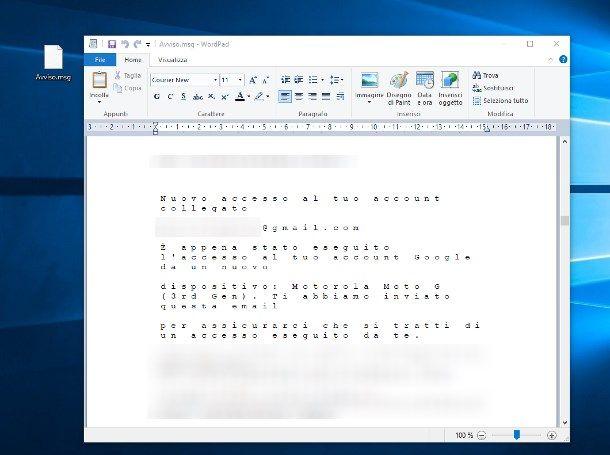 Aprire file MSG con WordPad