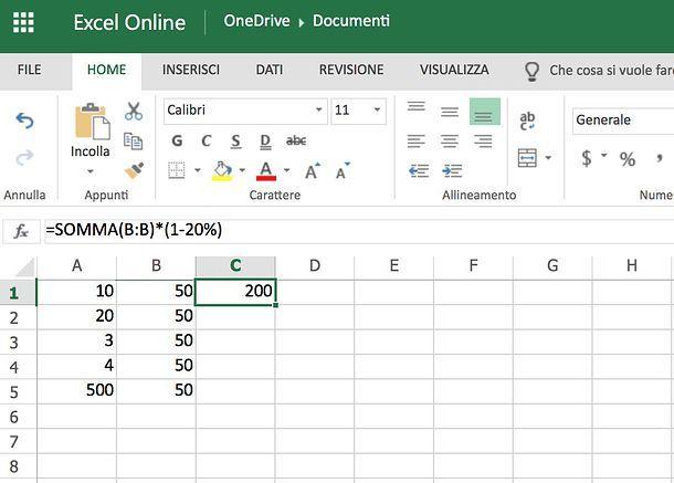 Come sottrarre la percentuale in Excel Online