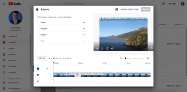 Inserire schede video su YouTube