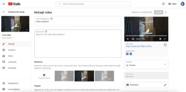 Pubblicare video su YouTube