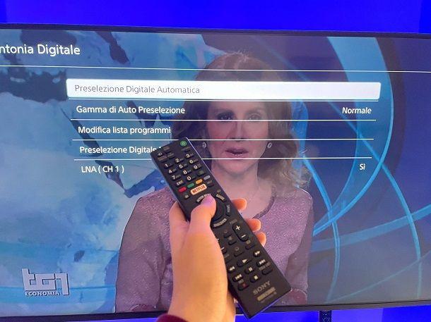Come risintonizzare il televisore Sony