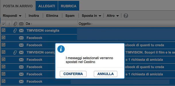 Come cancellare tutte le mail da Alice