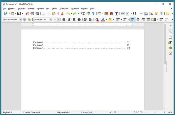 Come allineare i numeri dell'indice in LibreOffice