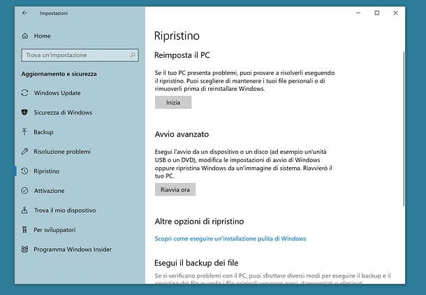 Come ripristinare il PC con Windows 10