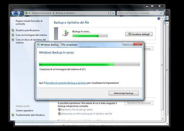 Come effettuare backup Windows 7