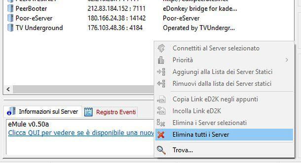 Come aggiornare i server di eMule