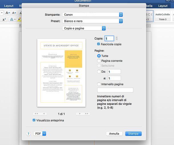 Come stampare in bianco e nero in Word per Mac