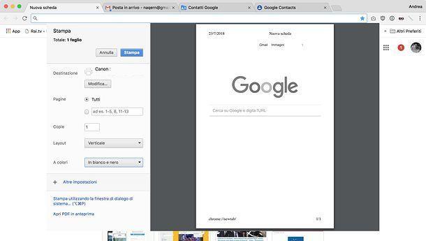 Come stampare in bianco e nero in Chrome
