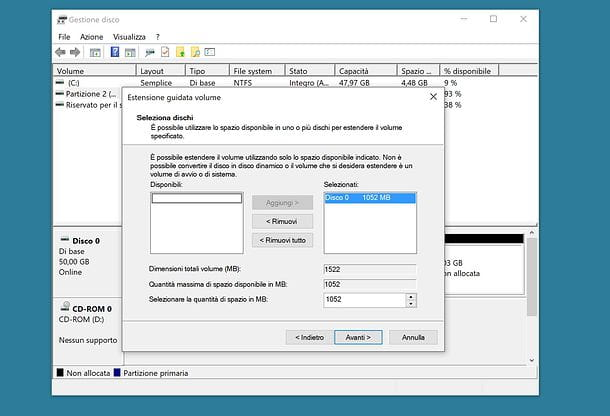 Come estendere una partizione su Windows