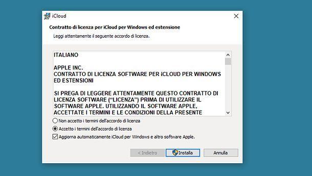 Installazione di iCloud per Windows