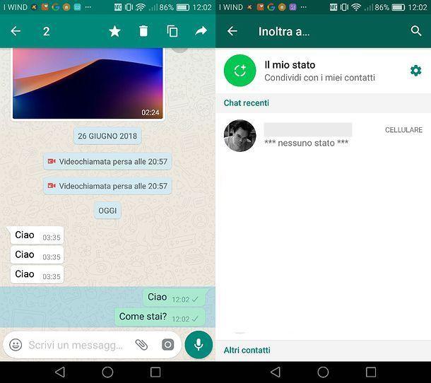 Come inoltrere messaggi bloccati su WhatsApp Android