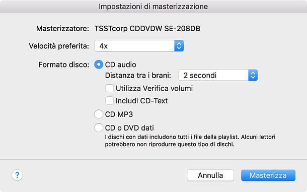 Come masterizzare CD audio con iTunes su Mac