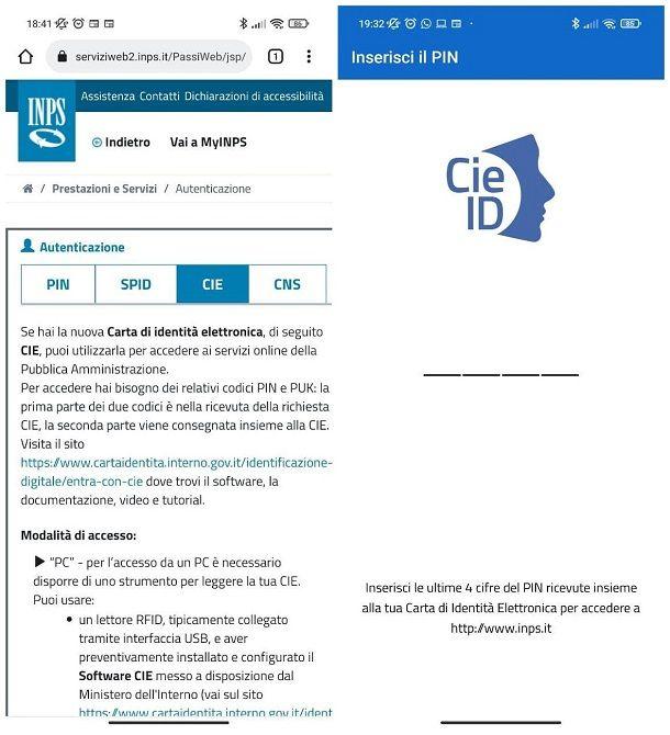 Come accedere al sito INPS con Carta Identità Elettronica