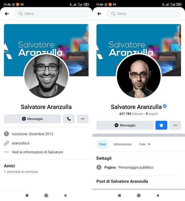 Pagina Facebook e Profilo Facebook