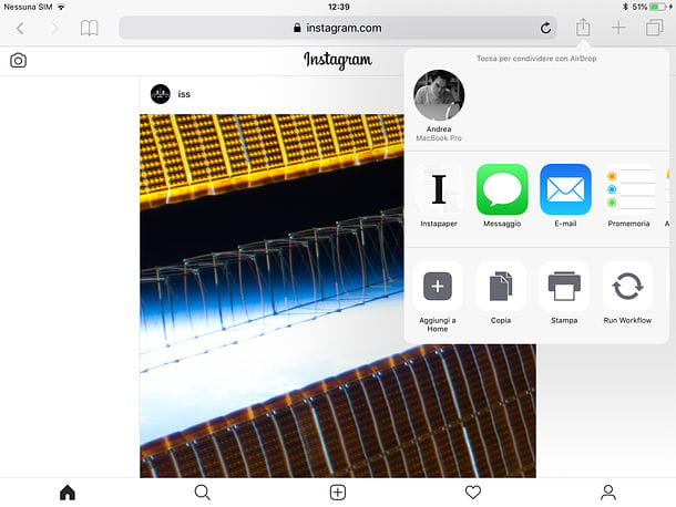 Instagram Web su iPad