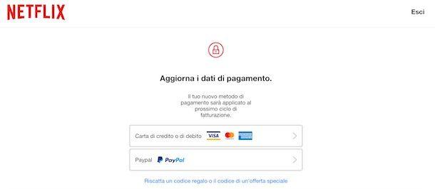 Ricaricare Netflix con carta di pagamento