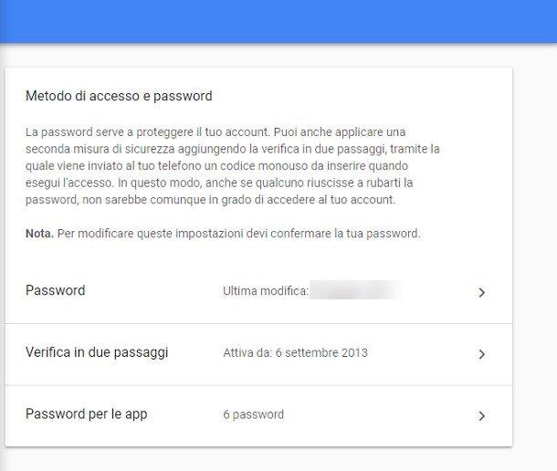 Come sbloccare account Google - Verifica in due passaggi