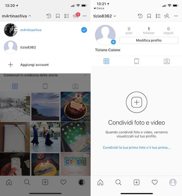 Come aggiungere un account su Instagram