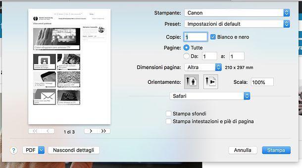 Come stampare in bianco e nero su Mac