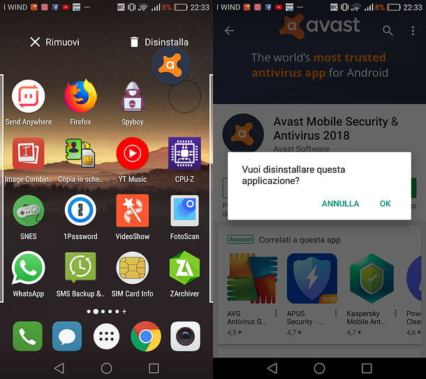 Disinstallare Avast da Android