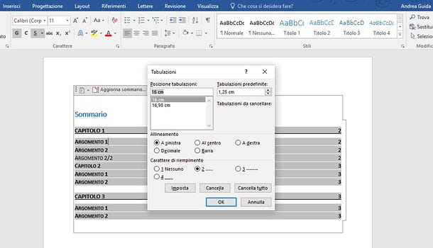 Come allineare i numeri dell'indice in Word