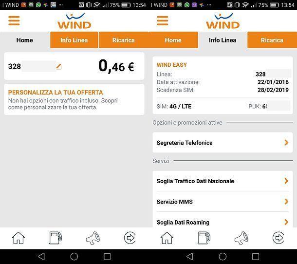 Recupero PUK Wind in app