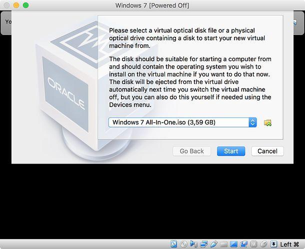 Selezione file ISO VirtualBox