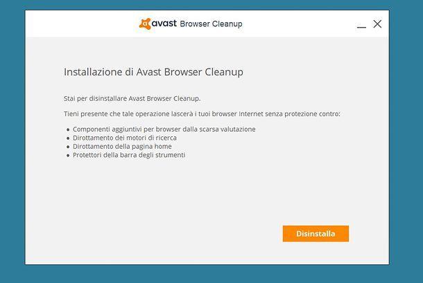 Disinstallazione Avast Browser Cleanup