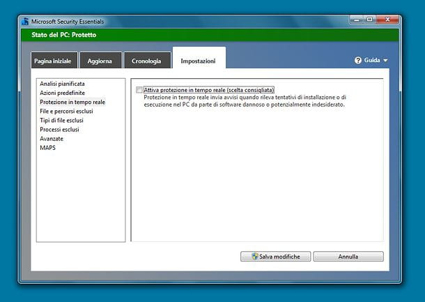 Come disattivare Windows Defender su Windows 7