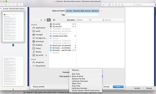 Come stampare in bianco e nero PDF Mac