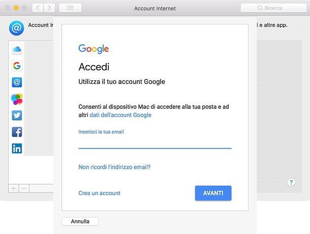Gestione Account Internet macOS