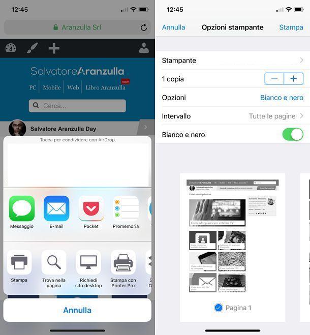 Come stampare in bianco e nero da iOS