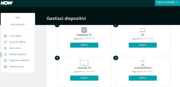 gestione dispositivi now
