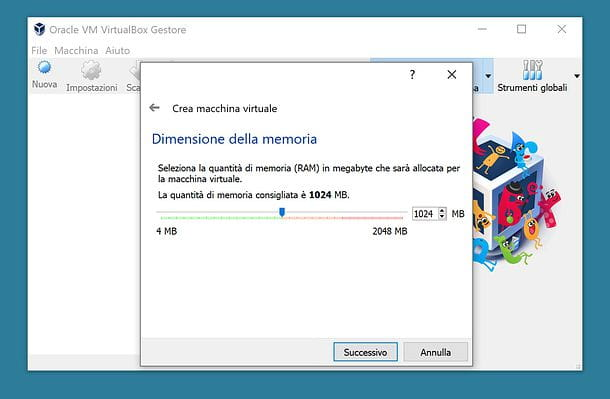 Impostazione RAM VirtualBox