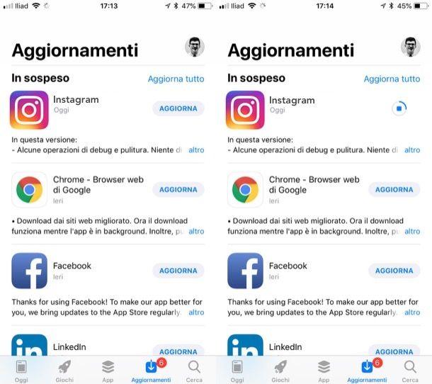 Aggiornare Instagram su iPhone