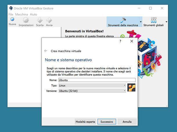 Configurazione iniziale di VirtualBox