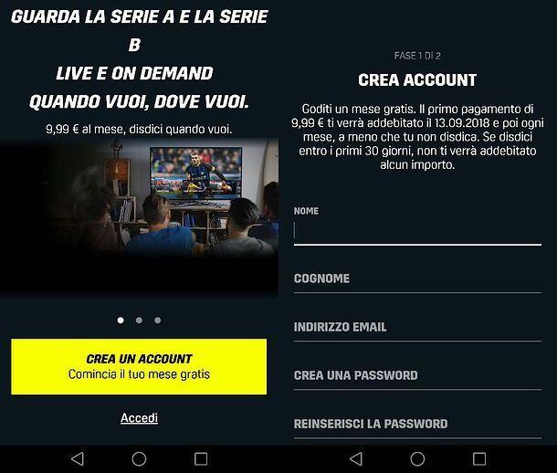 Registrazione DAZN da smartphone