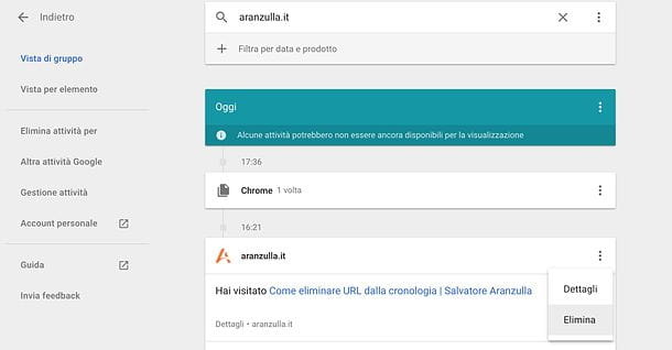 Come cancellare URL dalla cronologia di Google
