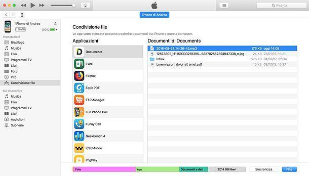Condivisione file di iTunes