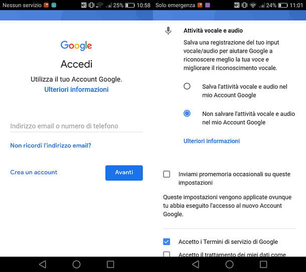 Come accedere account Google